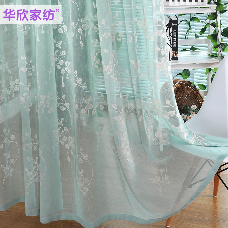 Hot Sale American Country Fresh Gauze High Grade Embroidered Blue Sheer  Curtains For Living Room