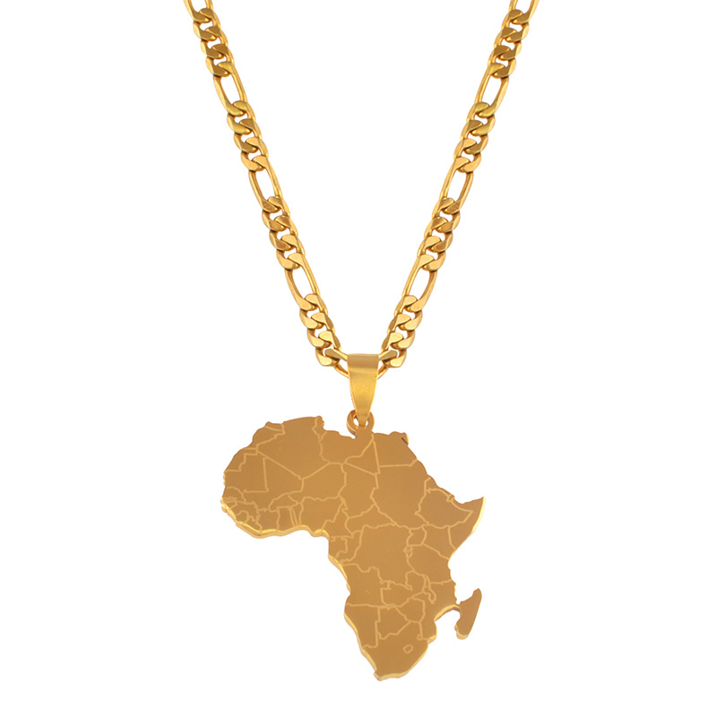 Gold Color Map of Africa Pendant Necklaces Hip-hop Style For