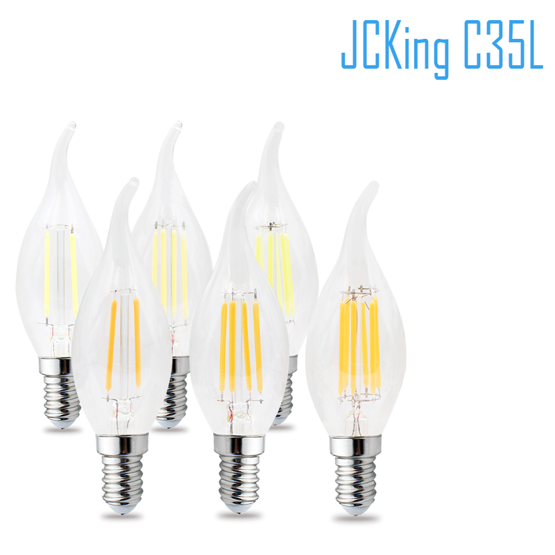 JCking Dimmable 2W 4W 6W 8W Led Candle E14 110V 220V Vintage Retro Dimming Candle Filament Bulbs Lamp For Chandelier Lighting
