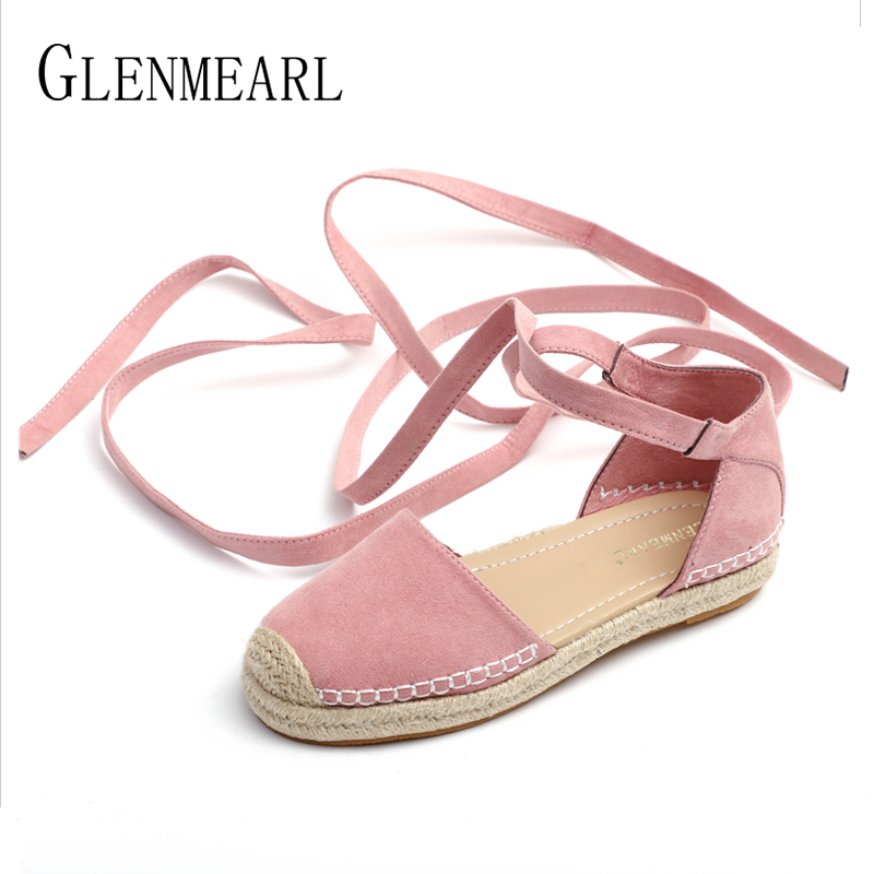 2018 Brand Women Flats Summer Shoes Platform Mules Lace Up Ankle Strap Fisherman Shoes Woman Straw Round Toes Plus Size Ladie DE bowtie hemp black ankle strap white canvas espadrilles shoes bow flats fisherman sandals ladies lace up women straw cute pom pom