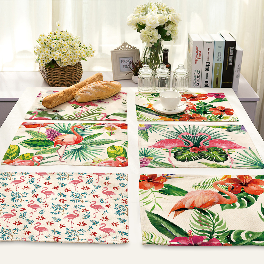 CAMMITEVER Flamingo And Plants wedding White Cotton Linen Table Napkins Home Textile Decoration For Birthday Tea Party Dropship