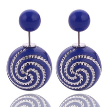 10 Colors Promotional Double Sided Earring for Women Double Ball Pearl Earrings for Girl Bijoux Femme Boucle d oreille De Marque