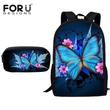 FORUDESIGNS School Bags for Teenager Girls Boys Butterfly Printing Kids Fashion Bag Primary Boy Cute Schoolbag Set