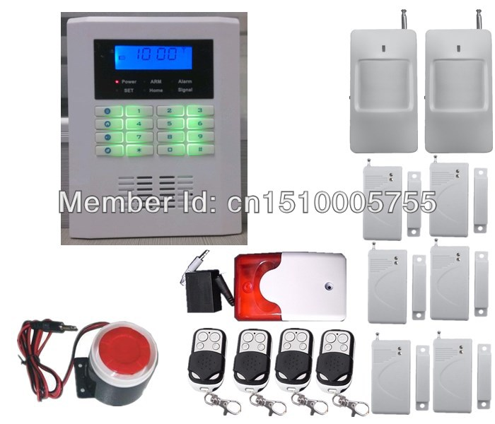Free shipping,intelligent wireless home security PSTN GSM alarm system, 850/900/1800/1900Mhz GSM alarm system+strobe siren free shipping 16 zones wired and wireless alarm control pane home security alarm host wireless and wired 850 900 1800 1900mhz