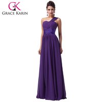 2014 New Grace Karin Women Blue One Shoulder Long Bridesmaid Wedding Chiffon Evening Prom Party Ball