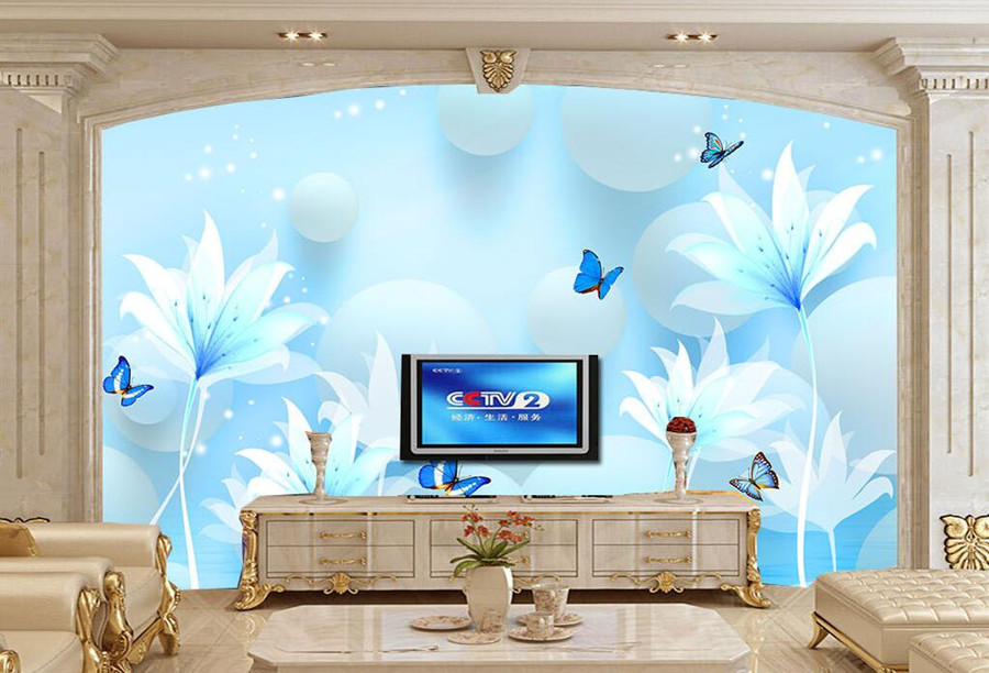 Buy custom 3d mural creative stereo for Black and blue wallpaper for living room
