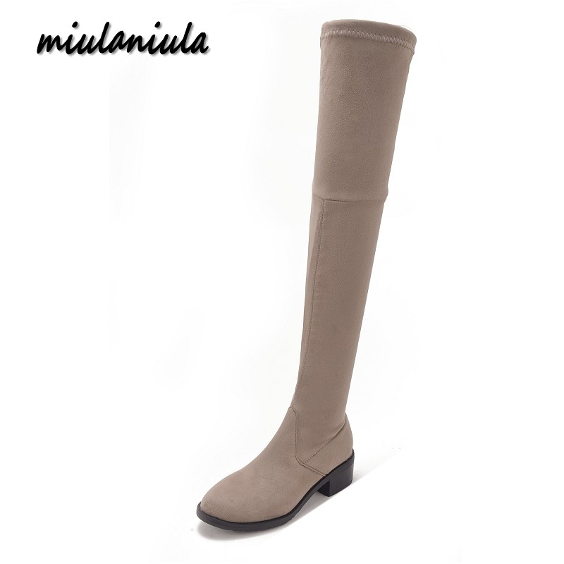 Miulamiula New Autumn Winter Women Over The Knee Boots Shoes Woman Fashion Stretch Long High Boots Plus size 35-41 Black Khaki