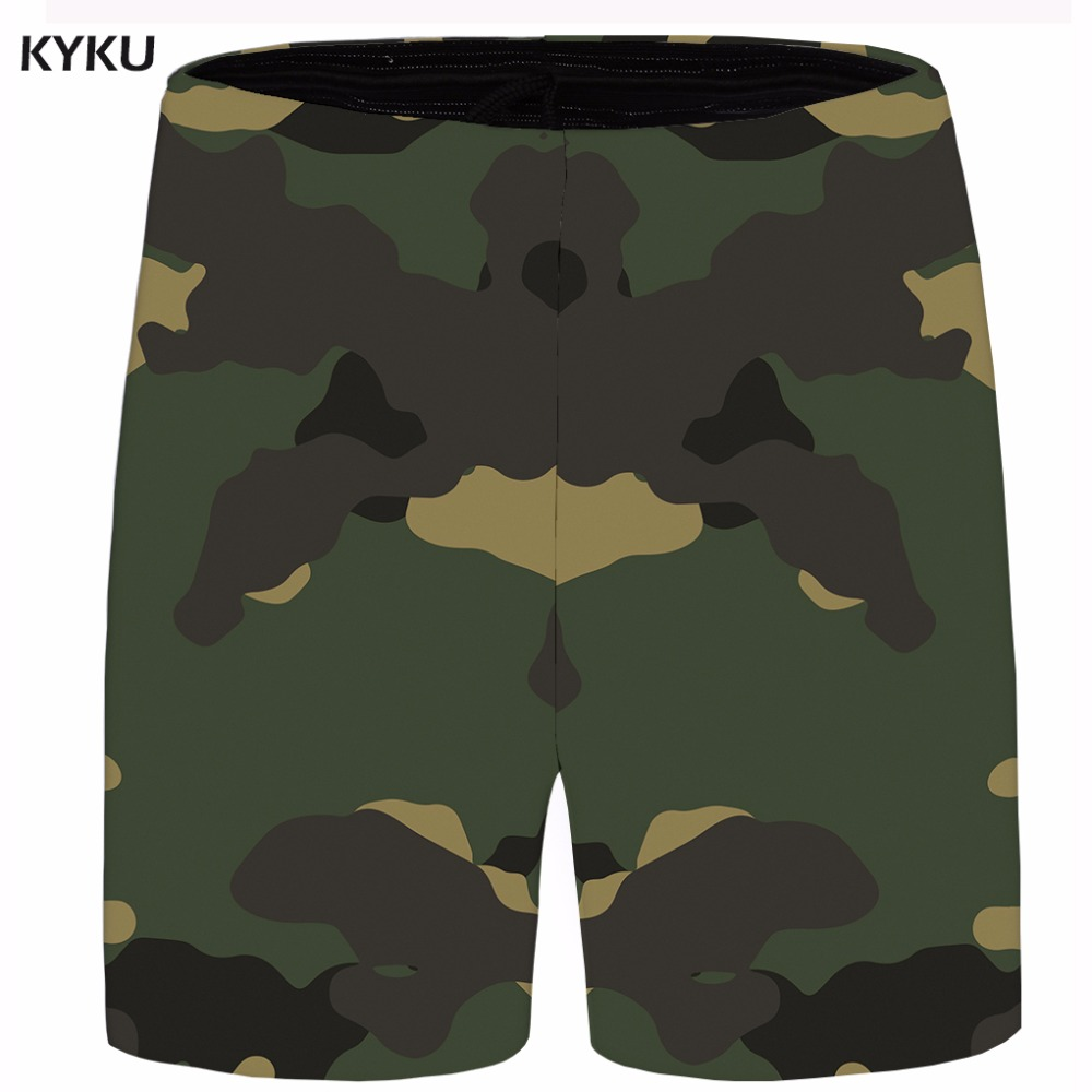 KYKU Camo Short Men Graphic Ink Beach Shorts Vintage Cool 3d Print Cargo Casual Shorts Anime Mens Short Big Size 2018 New Summer