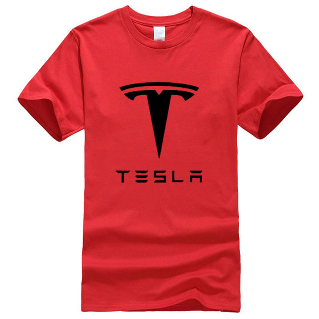 BAIJOE New Tesla Men T Shirts Short Sleeve Round Neck Ringer Letter Printed cotton Male Tees Casual Boy t-shirt Tops many colors
