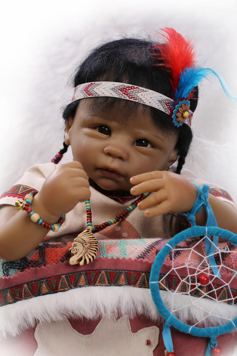 Handmade Native American Indian Black Reborn dolls Silicone Lifelike Girl Doll native корректирующий комбинезон 242