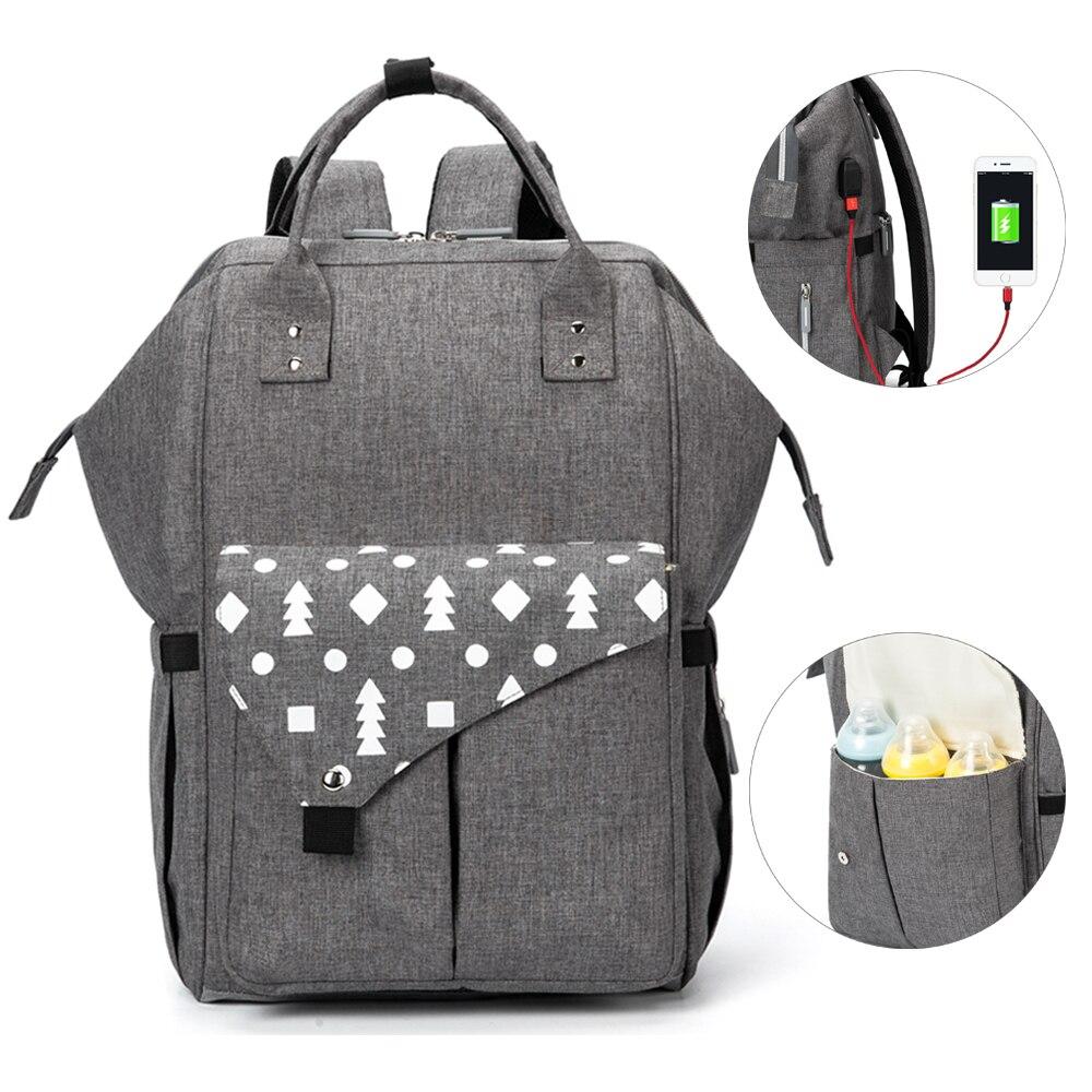 Grand sac à couches bébé imperméable USB bébé sacs pour maman sac à dos momie maternité Nappy sac pour poussette organisateur changeant