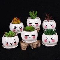 Cartoon Style Cute Expression Ceramic Small Flower Pots DIY Planter Succulent Plants Bonsai Pots Desktop Office Decoration