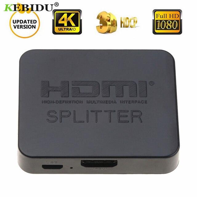 Kebidu HDCP 4 K Full HD 1080 p HDMI Splitter Video HDMI Switch Switcher 1X2 Split 1 in 2 Out Versterker Dual Display Voor PS3 HDTV