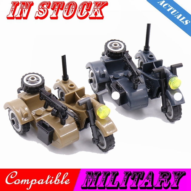 Creator Military Particles Accessory Motorcycle Tricycle Cartoon Car Brick Set Building Block Kid Toy Military Creators