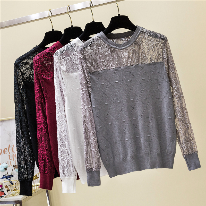 Spring Women Pullovers 2019 Sexy Lace Pullover Sweaters Fashion Patchwork Hollow Out Long Sleeve Knitted Tops Pull Femme