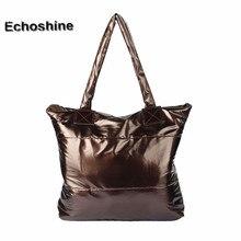 2016 New Women Girl Space Bale Cotton Totes Handbag Feather Down Shoulder Bag Brand Handbags Satchel Bags Plus Bag