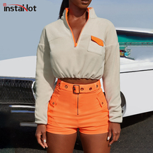 InstaHot Apricot Casual Stand Collar Zip Half Placket Pocket Sweartshirt Autumn Minimalist Fashion Women Streetwear Sweatshirts