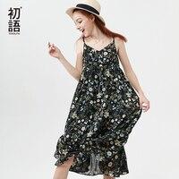 Toyouth Beach Dress Women 2018 Summer Boho Dress Casual Strap Bohemian Floral Dress Midi Long Chiffon