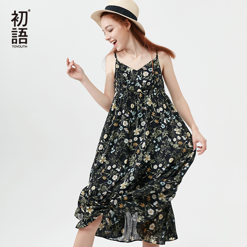 Toyouth Floral Bohemian Beach Dresses For Women Summer Spaghetti Strap Dress Vintage V-Neck Sleeveless Chiffon Midi Long Dresses