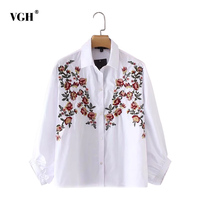 VGH Embroidery Floral Women's Shirt Blouse Top Loose Lantern Sleeve Autumn Print Blouses Clothes Casual Fashion New 2017
