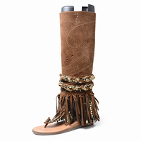 High Quality Real Leather Fringed Woman Thong Sandals Summer Fashion Crysatl Chains Embellished Knee High Gladiator Sandal Boots