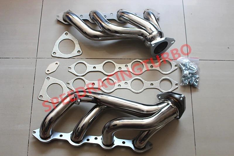 exhaust header for 99 01 chevy gmc silverado sierra v8 4 8l 5 3l shorty headers