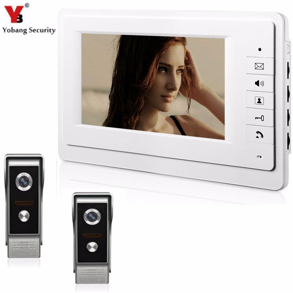 YobangSecurity Video Speakerphone Intercom 7Inch Monitor Video Doorbell Door Phone Intercom KIT Night Vision 2 Camera 1 Monitor