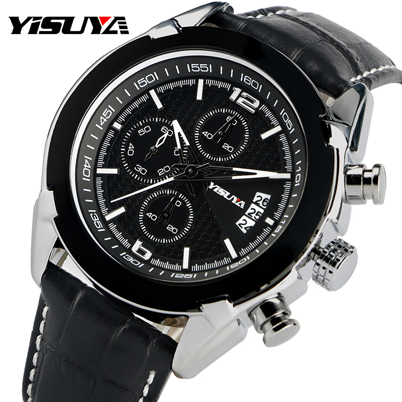 YISUYA Waterproof Watch Men Quartz Date Chronograph Casual Business Aviator Wristwatch Black Genuine Leather Band Gift
