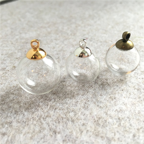 200pcs 16mm-18mm Empty Glass Globe Ball Charms Pendants Vials Wish Bottles