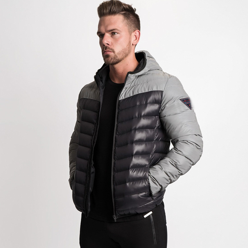 Winter Jacket Men Warm Coat Light Fashion Hooded Collar  Training Outside Wear Zipper Parka Men Contrast Stitching Coat
