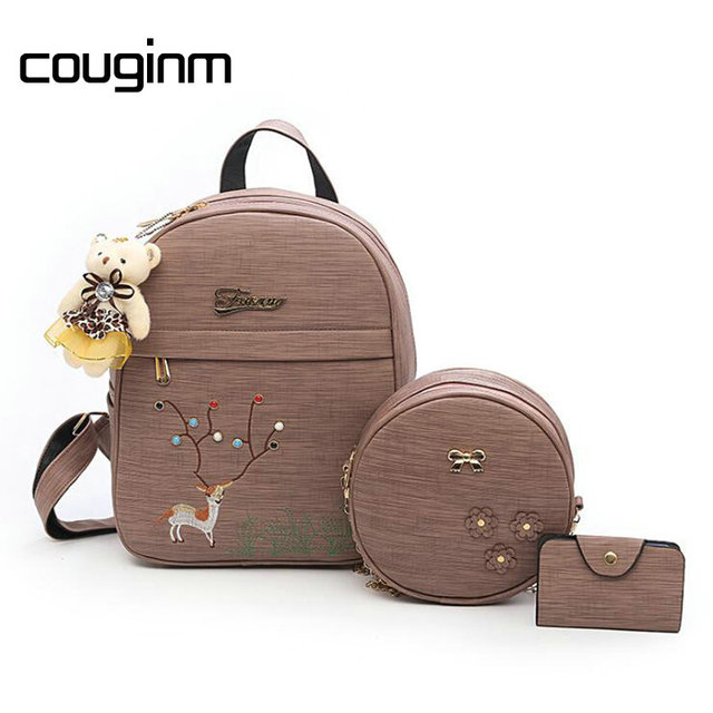 cb0edc9f1339 COUGINM Fashion Women Composite Bag Pu Leather Backpack Cute Deer  Embroidery 3 PCS Sets Bear School Backpacks Teenage Girls Bag