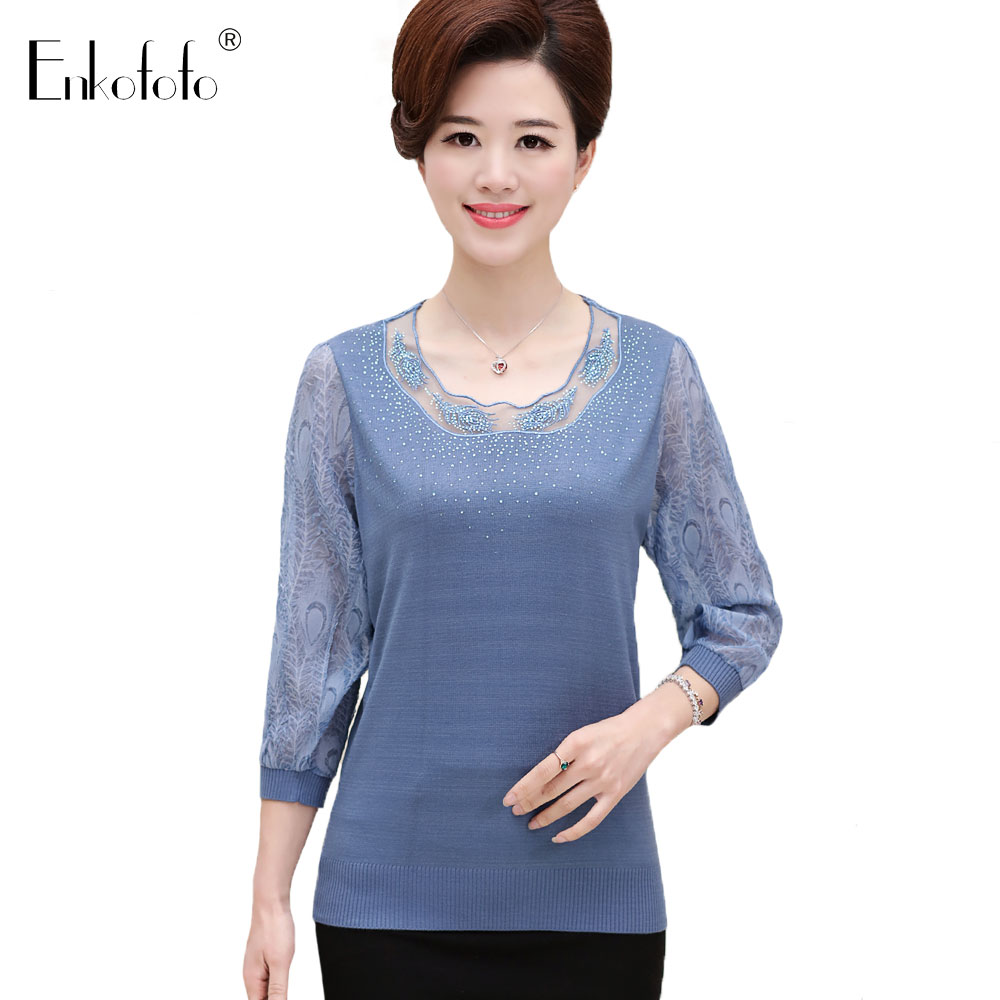 Collection Here Fashion 2019 Autumn Winter Middle Aged Women Long Sleeve Lace Blouses Ladies Tops Blusas Warm Velvet Shirts Tops Plus Size Qv523 Women's Clothing