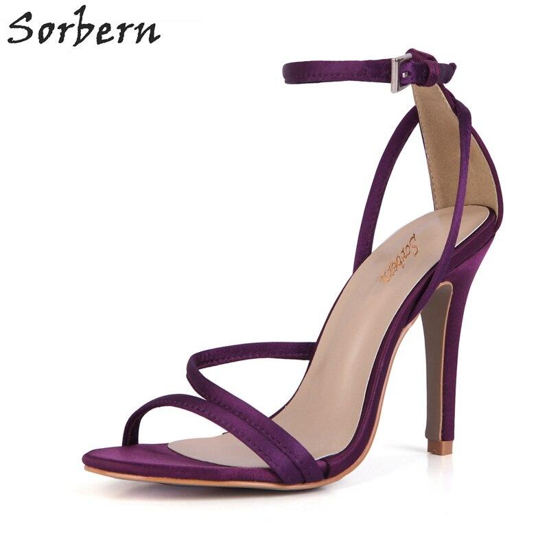 Sorbern Purple Silk Wedding Shoes Elegant Summer Sandals Stilettos Heels  Ankle Strap Open Toe Sandal High f292ab74e0e9