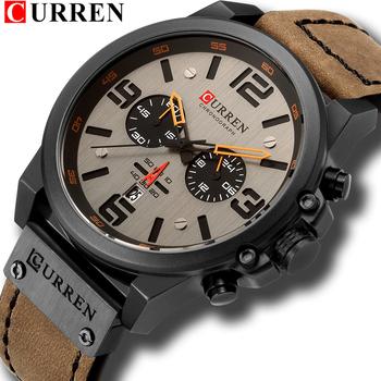 Najnowszy 2018 mężczyźni zegarki CURREN Top marka luksusowe skórzane wojskowe data mężczyzna zegar kwarcowy męskie zegarki na rękę Relogio Masculino tanie i dobre opinie Kwarcowe Zegarki Na Rękę Moda casual QUARTZ Stop Klamra 3Bar Kompletna kalendarz Odporne na wodę Chronograph 8314 Hardlex