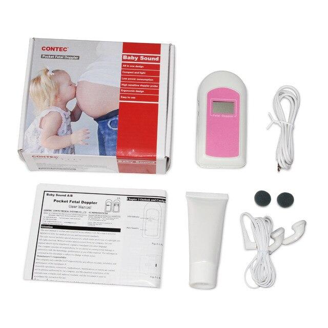 Kieszonkowe urządzenie do badania dopplerowskiego płodu Monitor rytmu serca dziecka, żel, słuchawki, FDA CE Babysound B ciąża rejestrator płodu dziecka