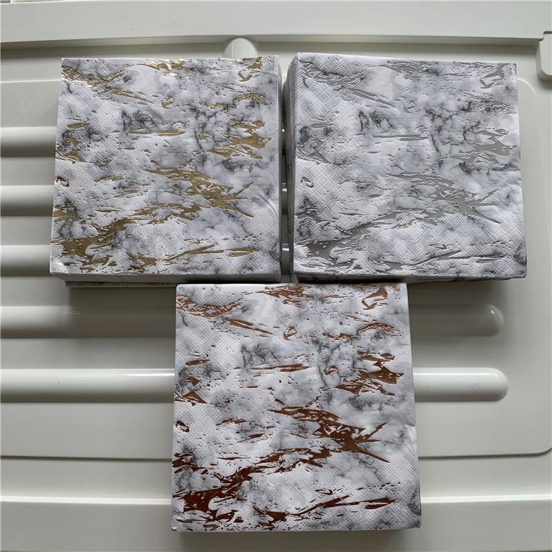 Decoupage Wedding Gilding Napkin Paper Elegant Tissue Gold Plating Marble Handerchief Christmas Birthday Party Beautiful Decor