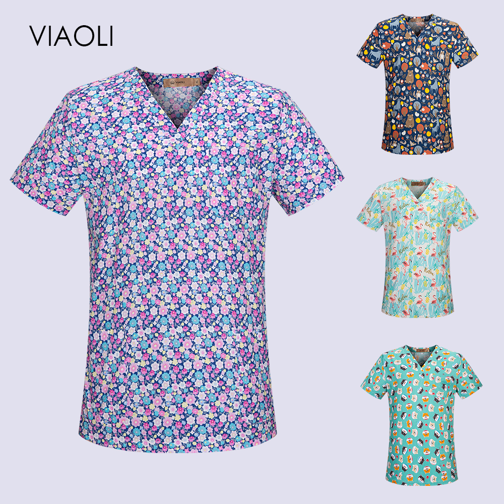 VIAOLI Printing Medical Costumes Nurse Uniform V-neck Uniforms Woman Lab Surgical Suit Medical Uniforms Man Surgical Top Scrubs