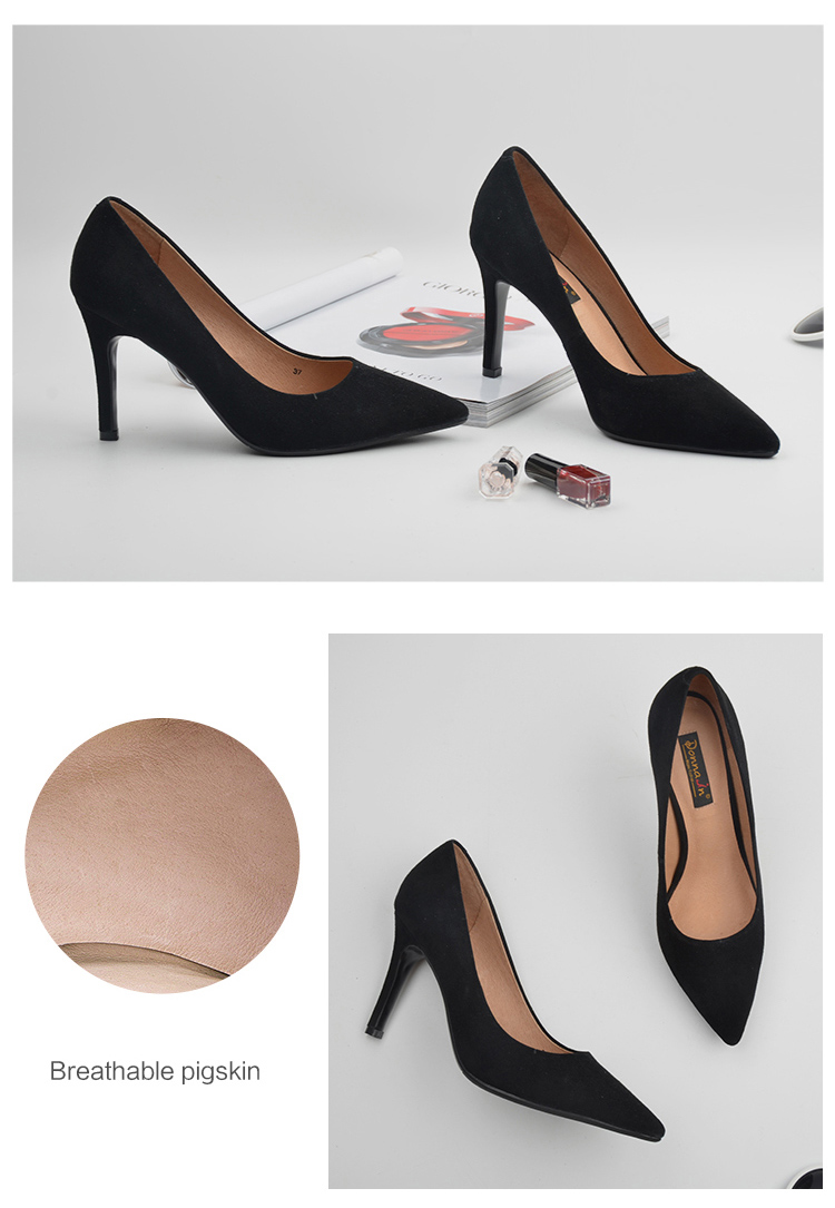 Donna-in 2017 New Style High heels pumps Natural suede leather Sexy Pointed Toe Office Singles Heeled woman Shoes 3255-1 (8)