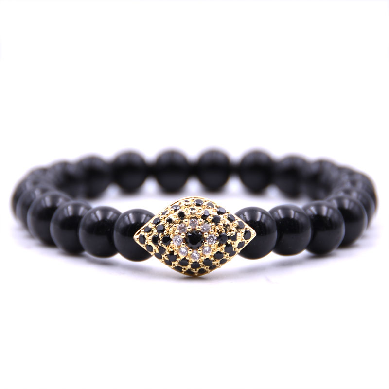 Kang hua Glamour jewelry Bright black 8mm Natural stone Bracelet Pave CZ metal Horse eye for Women Men classic jewelry gift 2019 in Strand Bracelets from Jewelry Accessories