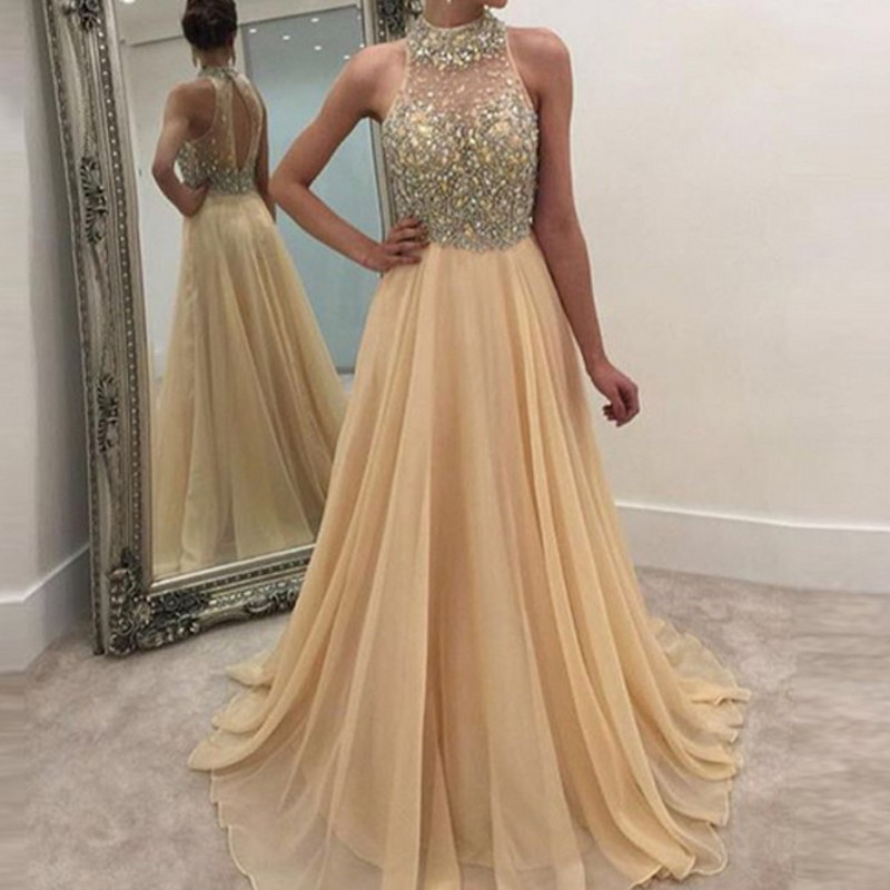 Gorgeous   Evening     Dresses   Saudi Arabia Beaded Pageant   Dress   With Crystals Chiffon Prom Gowns Custom Made 2018 Robe De Soiree