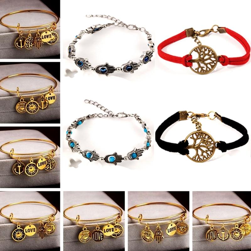 LNRRABC Fashion Retro Women Bracelet Rhinestones Cuff Pendant Diverse Temperament Jewelry Bracelets Gift