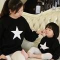 Семья Одежда Звезда Толстовка Мать Дочь Соответствующие Одежда Мама и Дочь Одежда Семья Стиль Родитель-Ребенок Набор LF1
