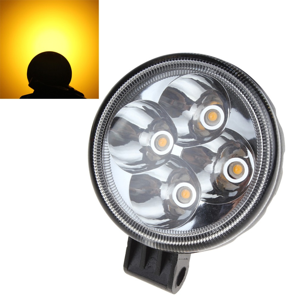 Hot 3 X 2 Inch Round 12W 12V / 24V Yellow Light Spotlight LED Car Work Lights Headlight Lamp For SUV / Truck Or Motorcycle