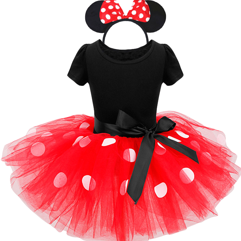2017 verano nuevos niños minnie mouse traje de ropa infantil ropa Polka dot Bebé Ropa de las niñas de cumpleaños tutu vestido