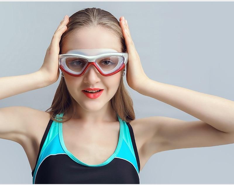 Professional Diopter Myopia Silicone Swimming Goggles Anti-Fog Waterproof With Earplugs 12