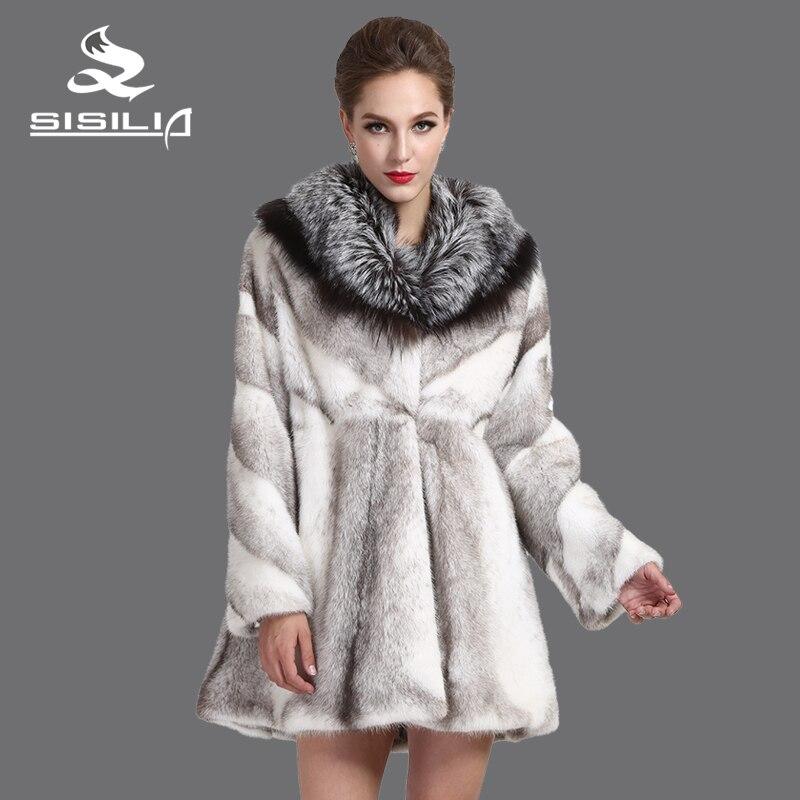 a423c952c € 3101.44 |SISILIA 2016 Dinamarca Nueva importación cruz de visón abrigos,  Cuero Genuino, La Moda ondulado falda, gran cuello de zorro plateado, ...