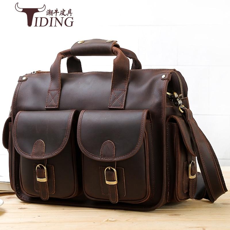 da8a2108c03a Crazy Horse leather bag man 2017 Cow Genuine Leather Messenger Bags Men  Travel Business Shoulder Bag for Man Masculina