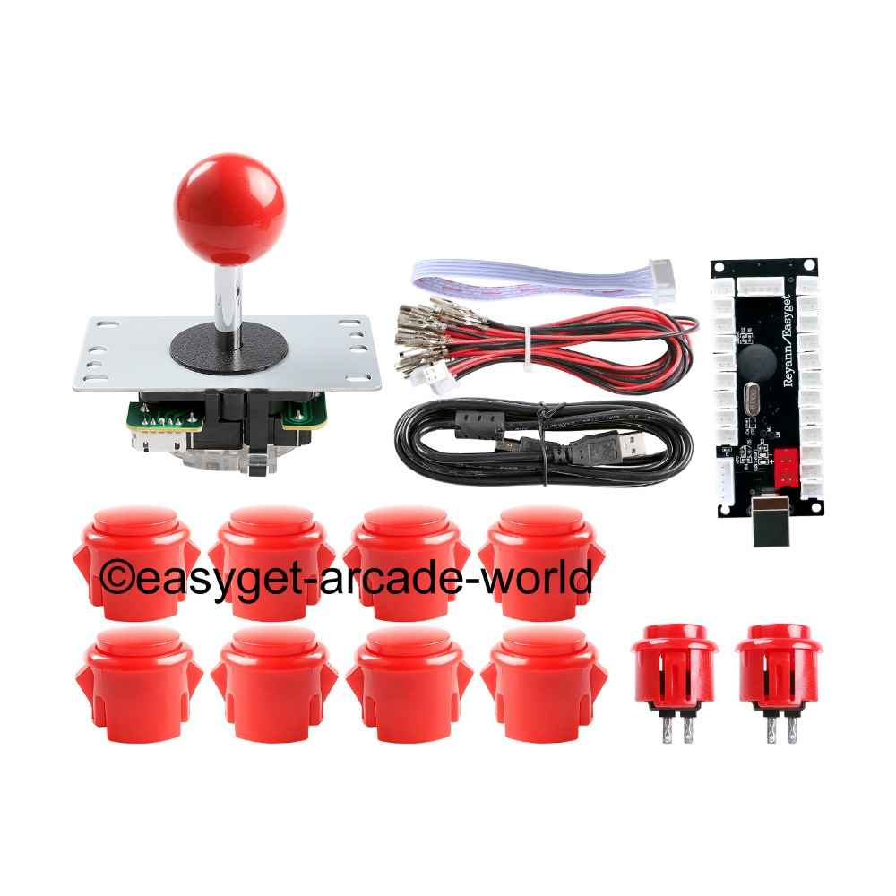 цена Arcade Raspberry Pi 1 2 3 Project Arcade Push Buttons + 5 Pin Arcade Stick + USB Encoder Board Replace Sanwa Button Joystick DIY в интернет-магазинах
