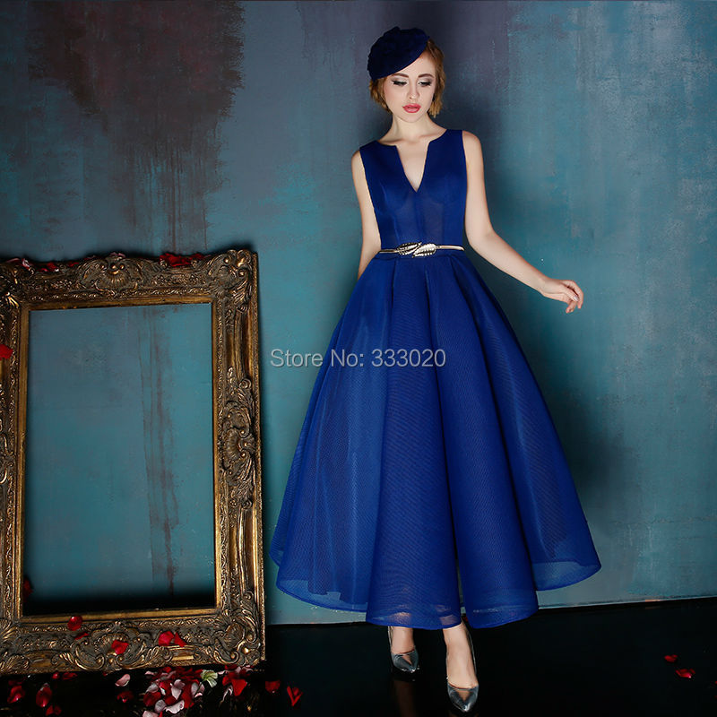 Aliexpress.com : Buy 1950s Vintage Ball Gown Royal Blue Tea Length ...