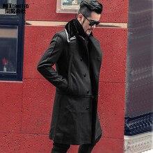 9e98ce3be27ea6 Uomo nuovo inverno di stile Britannico di disegno lungo della pelliccia di  lana giacca cappotto rimovibile uomo metrosexual sott.